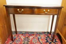 MAHOGANY 2 DRAWER FOYER TABLE. 36 1/2 IN WIDE. 30 IN TALL. 12 IN DEEP.