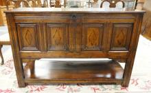 ANTIQUE OAK SIDEBOARD. 2 DOORS. PANELED FRONT & SIDES. PEGGED CONSTRUCTION. 56 IN LONG. 37 1/2 IN TALL.