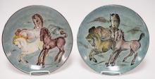 PAIR OF HAND PAINTED SIGNED POTTERY PLATES W/ HORSES. 12 3/4 IN