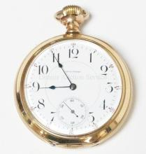 WALTHAM 25 YR GOLD PLATED POCKET WATCH. PRESENTED IN 1900. CLOSED BACK, ENAMELED FACE, HEAVY BEVELED BEZEL. CURRENTLY RUNNING. 2 1/4 IN DIA.