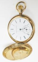 ELGIN GOLD PLATED POCKET WATCH. HAS A HERON ENGRAVED ON THE BACK. CLOSED FACE. CURRENTLY WORKING. 2 IN DIA