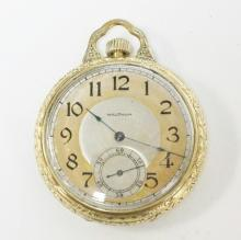 WALTHAM GOLD FILLED OPEN FACE POCKET WATCH. 2 TONE FACE. MONOGRAMMED. CURRENTLY WORKING. 1 3/4 IN DIA