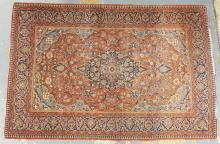 ANTIQUE KASHAN RUG. ALL OVER MULTICOLOR WITH A FINE WEAVE. 3 FT 4 IN X 5 FT