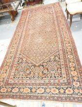 RARE 11 FT 10 IN X 5 FT 4 IN ANTIQUE MAHAL PERSIAN HALL CARPET.