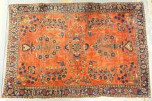 RARE SAROUK THROW RUG IN EXCELLENT CONDITION. OPEN FIELD. NO LOSSES. CIRCA 1900. 6 FT 4 X 4 FT 3 IN.