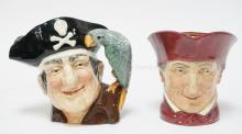 2 ROYAL DOULTON TOBY JUGS. *LONG JOHN SILVER* D6335 AND *THE CARDINAL*. TALLEST IS 7 1/4 IN.