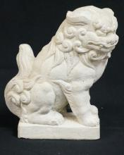 CONCRETE FOO DOG FIGURE. 10 1/4 IN TALL.