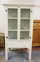 COUNTRY PIE SAFE IN WHITE PAINT. 65 1/2 IN TALL. 33 1/2 IN WIDE.