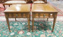 PAIR OF HENREDON ONE DRAWER END TABLES. 26 X 22 IN TOPS.