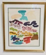 ARTIST SIGNED ABSTRACT PRINT. 13 1/2 X 16 1/2 IN.
