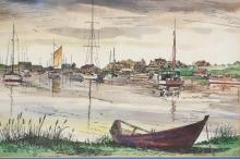 INK & WATERCOLOR PAINTING OF WYCHMERE HARBOR SIGNED MILTON WELT. 11 3/4 X 9 IN.
