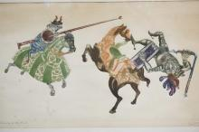 LIM ED WOODBLOCK PRINT TITLED *LA LEY DEL MAS FUERTE* (THE LAW OF THE STRONGEST) JOUSTING SCENE. PENCIL SIGNED & DATED 1964. 28 X 16 1/2 IN.
