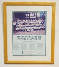 BROOKLYN DODGERS 1955 WORLD CHAMPIONS CONTEMPORARY POSTER. FRAMED & MATTED.