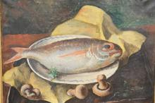 OIL ON CANVAS OF A FISH ON A PLATTER. 21 X 17 1/2 IN.