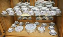 95 PCS ROYAL CROWN STAFFORDSHIRE DINNERWARE DECORATED WITH BIRDS. VERY FEW UTENSIL MARKS.