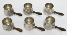 SET OF 6 STERLING SILVER INDIVIDUAL SAUCE SERVERS WITH WOODEN HANDLES. 4 IN LONG.
