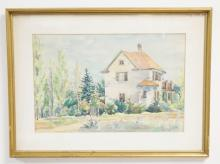 WATERCOLOR PAINTING OF A STONE HOUSE SURROUNDED BY TREES. UNSIGNED. 17 X 11 1/2 IN.