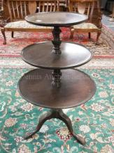 MAHOGANY 3 TIER DISH TOP TABLE. 39 1/2 IN TALL.