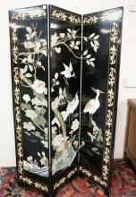 ORIENTAL FOLDING SCREEN. 78 IN TALL. 42 IN WIDE.