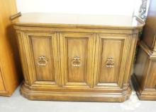 HERITAGE *GRAND TOUR* SERVER WITH SLIDING SPLIT TOP REVEALING A STONE TOP. 47 1/2 IN WIDE. 32 IN TALL.