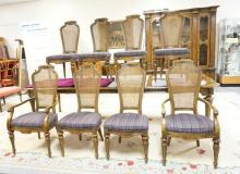 SET OF 8 HERITAGE *GRAND TOUR* DINING ROOM CHAIRS WITH CANED BACKS AND UPHOLSTERED SEATS. 42 1/2 IN TALL.