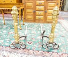 PAIR OF ANTIQUE ANDIRONS. MADE OF BRASS, BRONZE & IRON. 24 1/2 IN TALL.