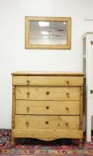 PINE 4 DRAWER CHEST WITH SECRET DRAWER BELOW. 40 1/2 IN WIDE. 41 IN TALL. 21 1/2 IN DEEP.
