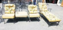 4 PIECES OF IRON PATIO FURNITURE. LOUNGE, 2 CHAIRS, & OTTOMAN.