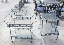 4 PIECES OF IRON PATIO FURN. 3 GRADUATED TABLES & A TEA CART.