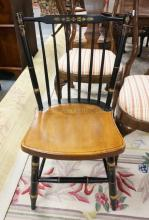 SIGNED HITCHCOCK STENCILED SPINDLE BACK CHAIR. 34 IN TALL.