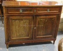ANTIQUE FRENCH SIDEBOARD. 2 DRAWERS OVER 2 DOORS. FINISH WORN. BOTTOM MISSING AS WELL AS SOME TRIM. 50 1/2 IN WIDE. 40 IN TALL.