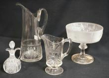 4 PC LOT EAPG- *MARSH FERN* TANKARD PITCHER (12 3/4 IN H), WESTWARD HO 8 IN DIA COMPOTE, DUNCAN'S #42 CRUET W/ ORIG. STOPPER AND A FRUIT PATTERN MILK PITCHER.