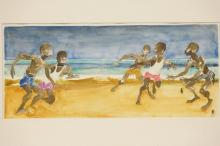 WATERCOLOR PAINTING OF KIDS PLAYING SOCCER ON A BEACH. 17 X 7 1/2 IN.
