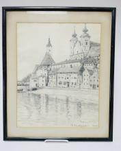 PENCIL DRAWING OF A GERMAN TOWN SIGNED *ELLA FRANKFURTER 1928* 12 X 15 IN. HAS SOME LINES OF FOXING.