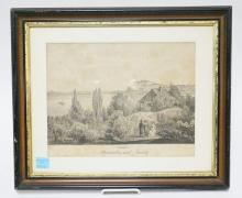 FRAMED ANTIQUE ETCHING TITLED *SYRMIEN. PETERWARDIEN UND NEUSATZ* 13 1/4 X 10 1/4 IN. FOXING OVERALL.