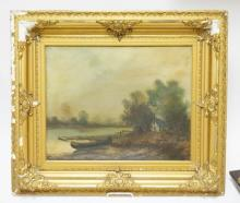 OIL ON CANVAS OF A COTTAGE BY THE WATER WITH A BOAT ON THE BANK. SIGNED *WEBER*. 19 1/2 X 15 1/2 IN. FRAME IS DAMAGED.