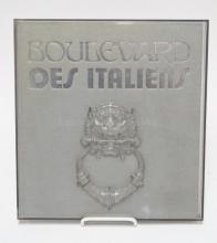 BOOK *BOULEVARD DES ITALIENS* WITH LUCITE CASE. 12 X 12 1/2 IN.