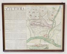 ANTIQUE MAP OF THE SIEGE OF BELGRADE, 1717. HAND COLORED ENGRAVING. 23 X 18 IN.