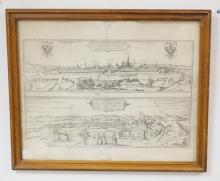ETCHING OF THE METROPOLIS OF VIENNA AUSTRIA. 18 1/2 X 12 IN. FOLD IN CENTER.