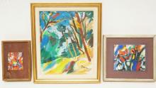 3 PAINTINGS BY YOVAN RADENKOVICH. OIL ON BOARD. LARGEST MEASURES 9 3/4 X 11 3/4 IN