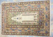PERSIAN PRAYER RUG. 4 FT 4 IN X 2 FT 11 IN.