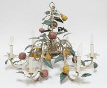 ART METAL CHANDELIER DECORATED WITH METAL LEAVES AND COMPOSITE APPLES & PEARS. 19 IN TALL. 26 IN ACROSS.