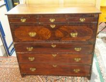 ANTIQUE MAHOGANY EMPIRE CHEST WITH 3 DRAWERS OVER A FALL FRONT DESK AND 3 DRAWERS BELOW. 44 1/2 TALL. 47 1/2 IN WIDE. SOME VENEER LOSS.