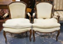 PAIR OF ANTIQUE FRENCH ARMCHAIRS. UPHOLSTERY HAS STAINS.