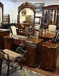 PHENIX FURNITURE, WARREN PA 6 PC CARVED MAHOGANY BEDROOM; HIGH CHEST, DRESSER W/MIRROR, VANITY W/MIRROR, VANITY BENCH, NIGHT STAND & BED