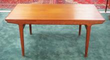 *ULDUM MOBELFABRIK* DANISH MODERN DINING TABLE WITH EXTENSION ENDS. 63 X 35 1/2 INCH TOP.