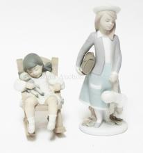 2 LLADRO FIGURES OF GIRLS WITH DOLLS. TALLEST IS 8 INCHES.