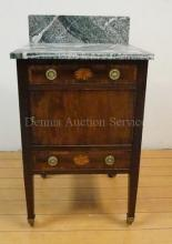 18TH-19TH C. GEORGIAN INLAID & BANDED WORK STAND W/GREEN MARBLE TOP & SPLASH; 2 DRW & 1 DR; HAS LABEL *COOPE & HOLT, DEALERS IN ANTIQUE FURNITURE, BUNHILL ROW, LONDON*; 35 IN H, 19 IN W, 17 IN D. BACK SPLASH CRACKED