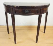 ANTIQUE MAHOGANY INLAID DEMILUNE FLIP TOP GAME TABLE; REQUIRES RESTORATION; ONE DRAWER; 35 1/2 IN X 17 3/4 IN CLOSED, 29 IN H