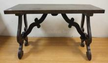 ANTIQUE ITALIAN TABLE W/CARVED LEGS & STRETCHER; WORM HOLES & DUTCHMAN REPAIR; 45 1/2 IN X 20 1/4 IN, 28 IN H